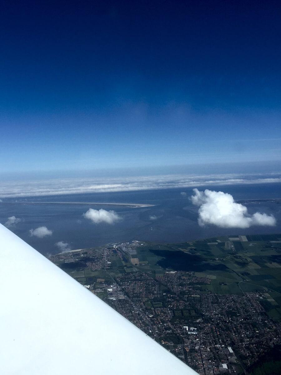 Ausblick über der Nordsee und Ostfriesland